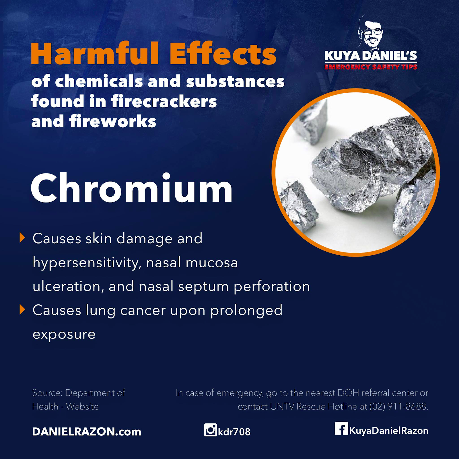harmful effects of chromium in firecrackers and fireworks