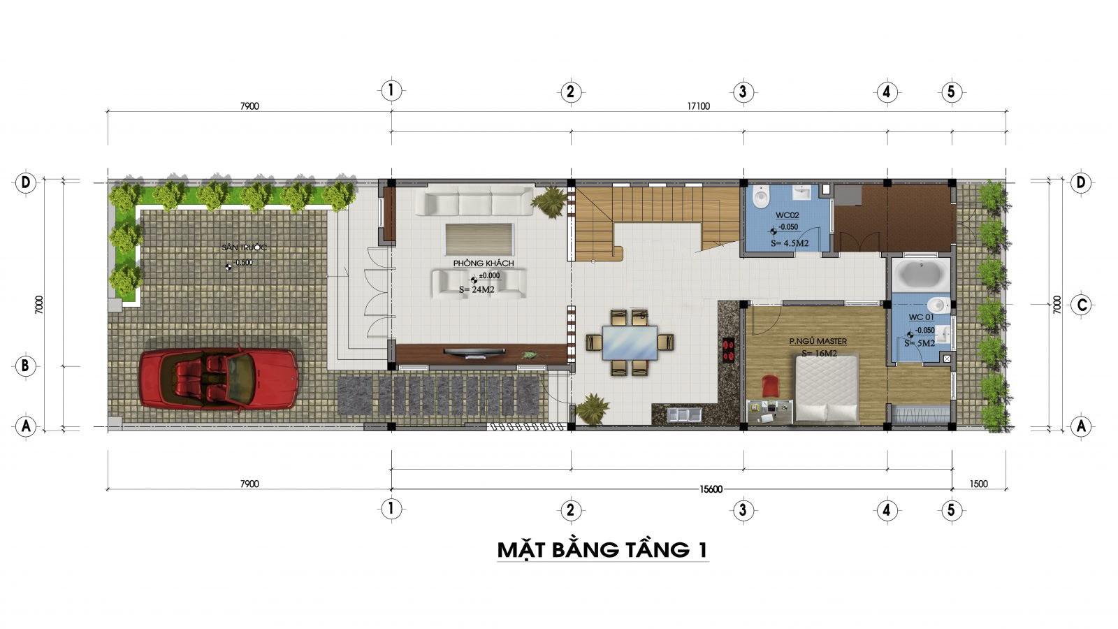 Mặt bằng tầng 1 mẫu nhà 2 tầng mặt tiền 7m