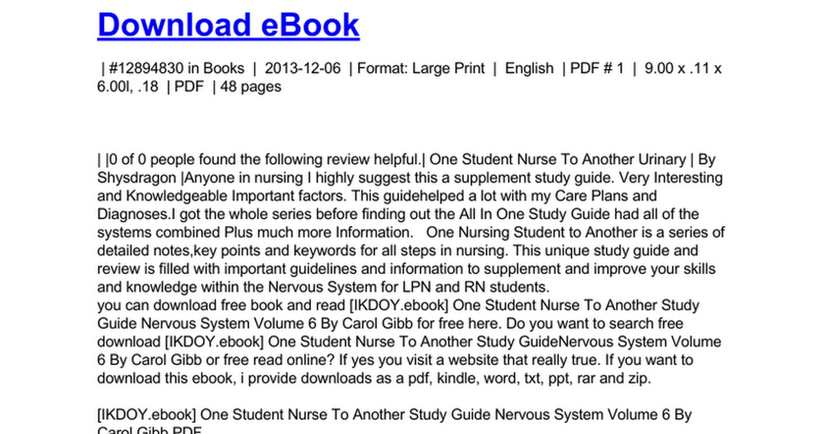 one student nurse to another study guide nervous system volume 6