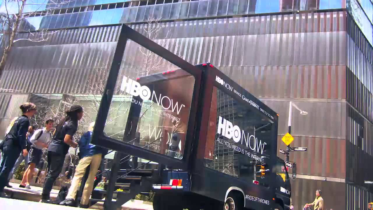 HBO now truck with open glass trailer