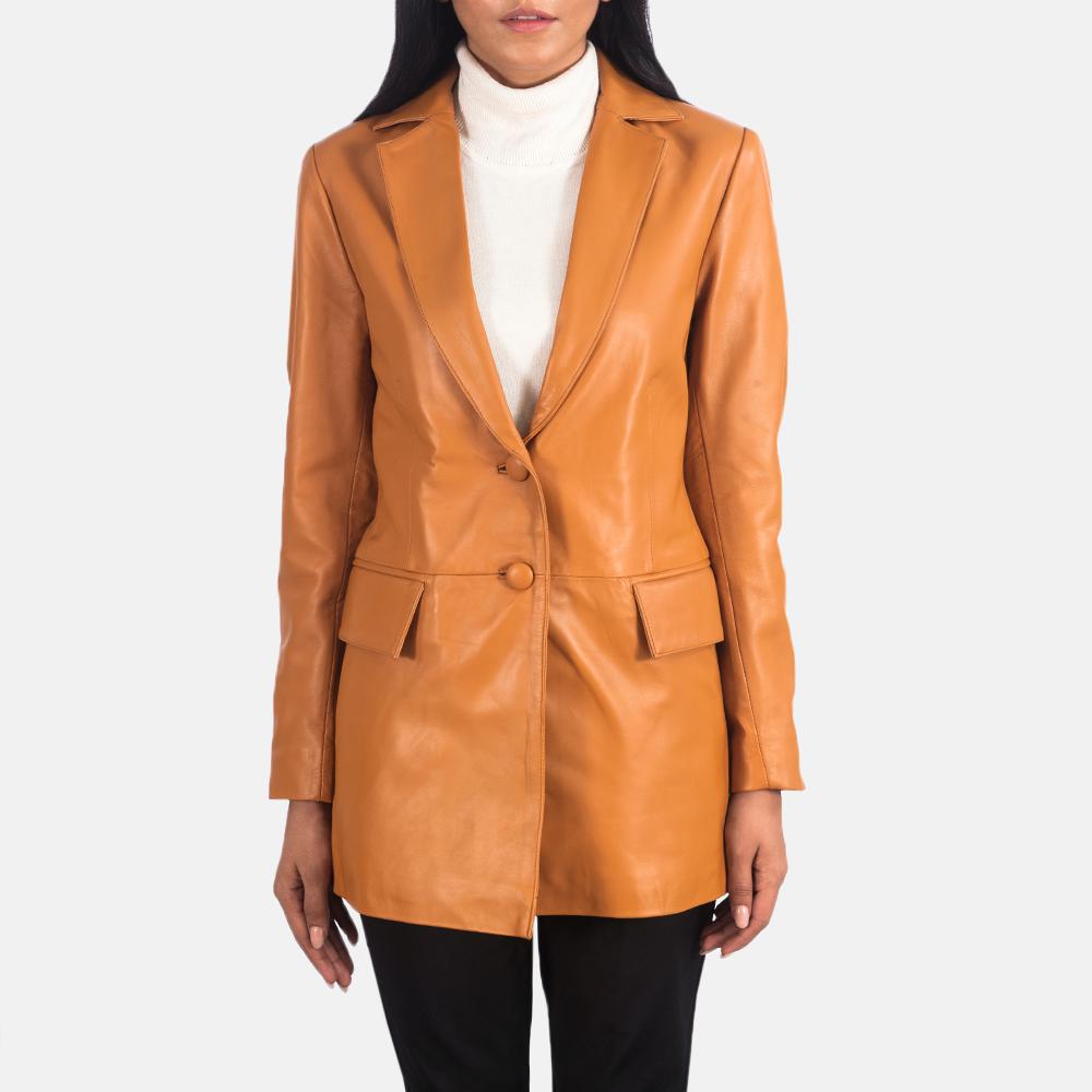 Marilyn Tan Brown Leather Blazer