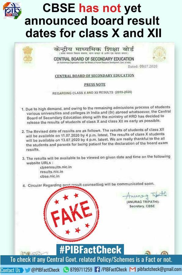 A stamp with the word Fake on a press note which claims that CBSE has released result dates for Board exams and also lists 3 websites to view the results