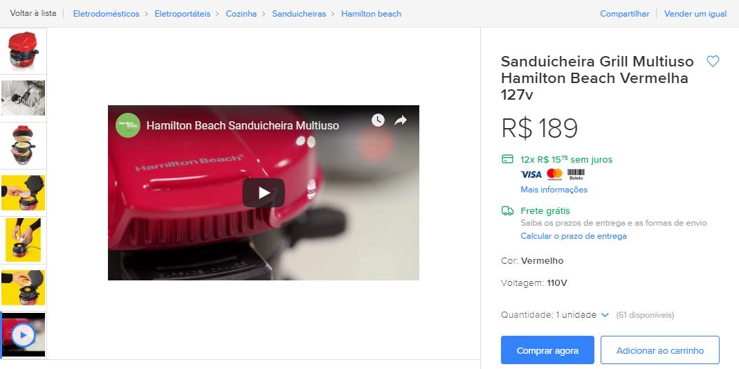 Exemplo de anúncio com vídeo e imagens profissionais, elementos que aumentam a taxa de conversão.