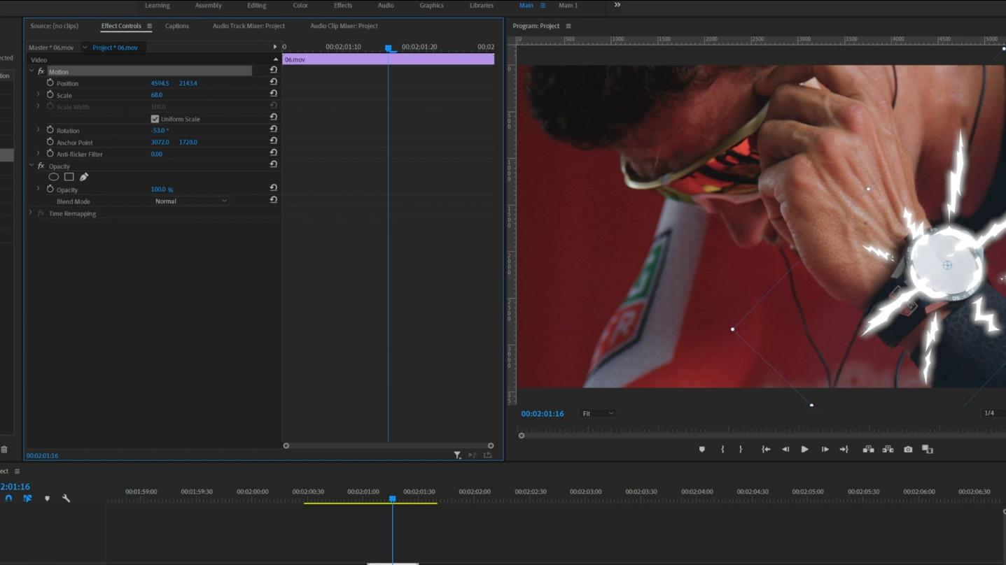 screenshot of video editor creating a professional looking video