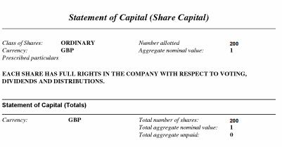 UK Company capital statement