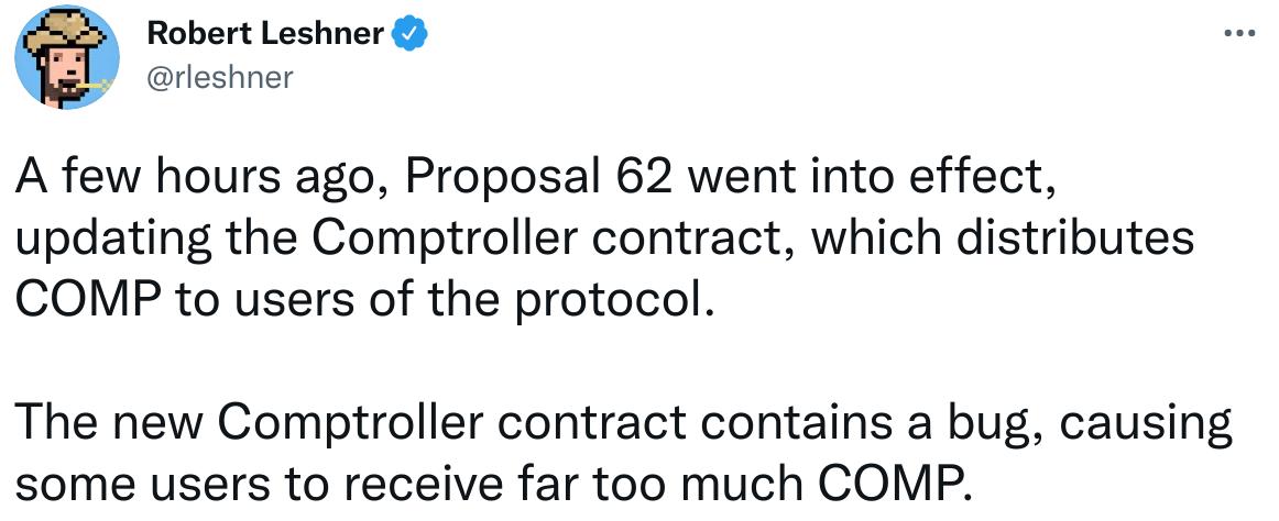 Publication Twitter de Robert Leshner expliquant l'origine du bug sur Compound