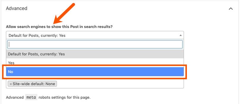 noindex meta tag option in yoast seo