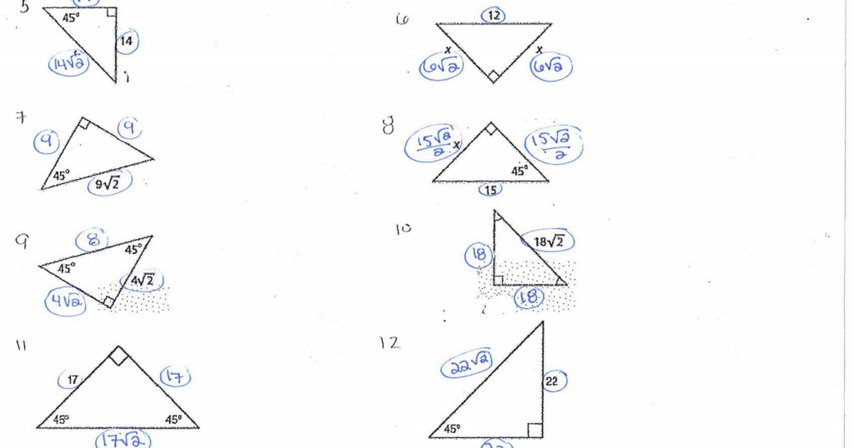 Special Right Triangles Worksheet Answer Key - Geotwitter Kids ...