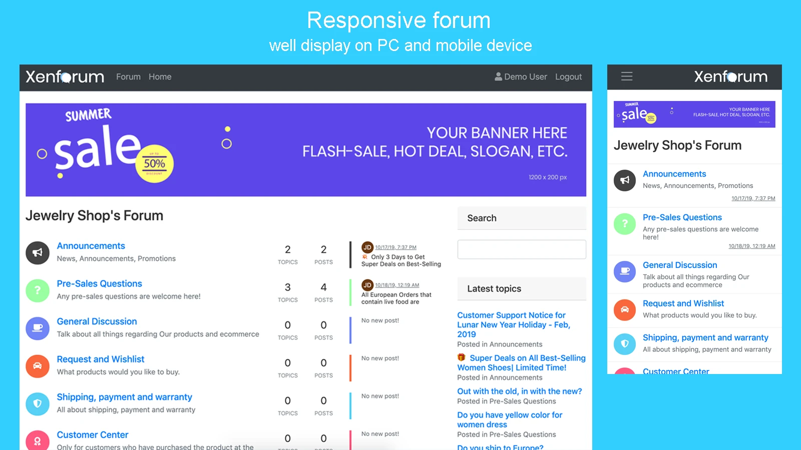 Shopify forum app