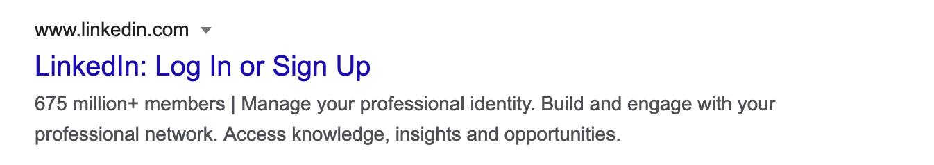LinkedIn login or Sing Up options