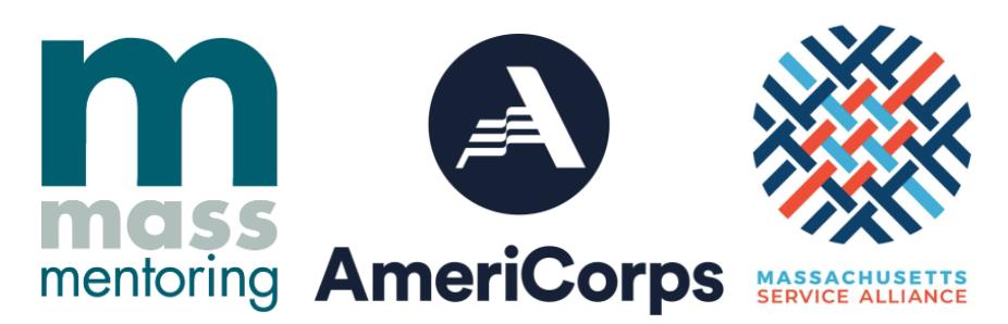 Mass Mentoring, Americorps, and Mass Service Alliance logos