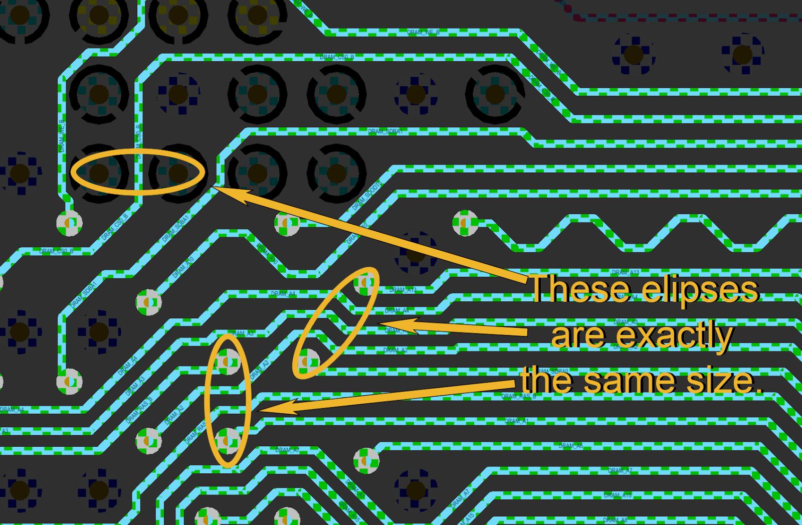 Figura 5: Dos o tres pistas pueden colocarse entre microvías, en el mismo espacio necesario para una pista entre vías