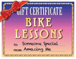 Gift Certificates for Private Bike Lessons with Virtuous Bicycle