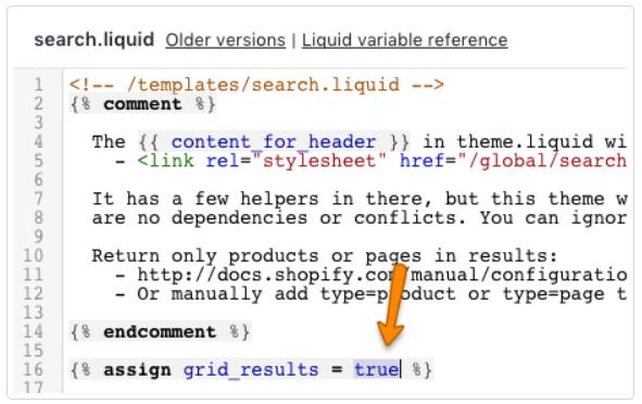 Search.liquid Setting Shopify