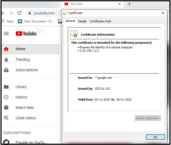 Youtube Certificate