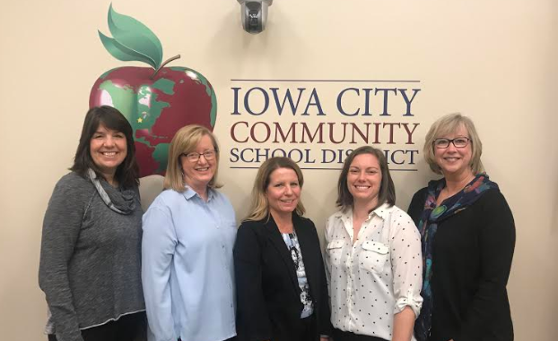 Tate High School Principal Ann Browning, Grant Wood AEA Regional Administrator Terri McGraw, Iowa City Community School District Special Education Director Lisa Glenn, Iowa City Instructional Design Specialist Megan Clark, and Grant Wood AEA Regional Administrator Tracy Liebermann.