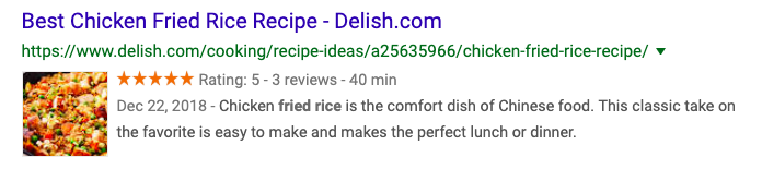 search result with rich snippets