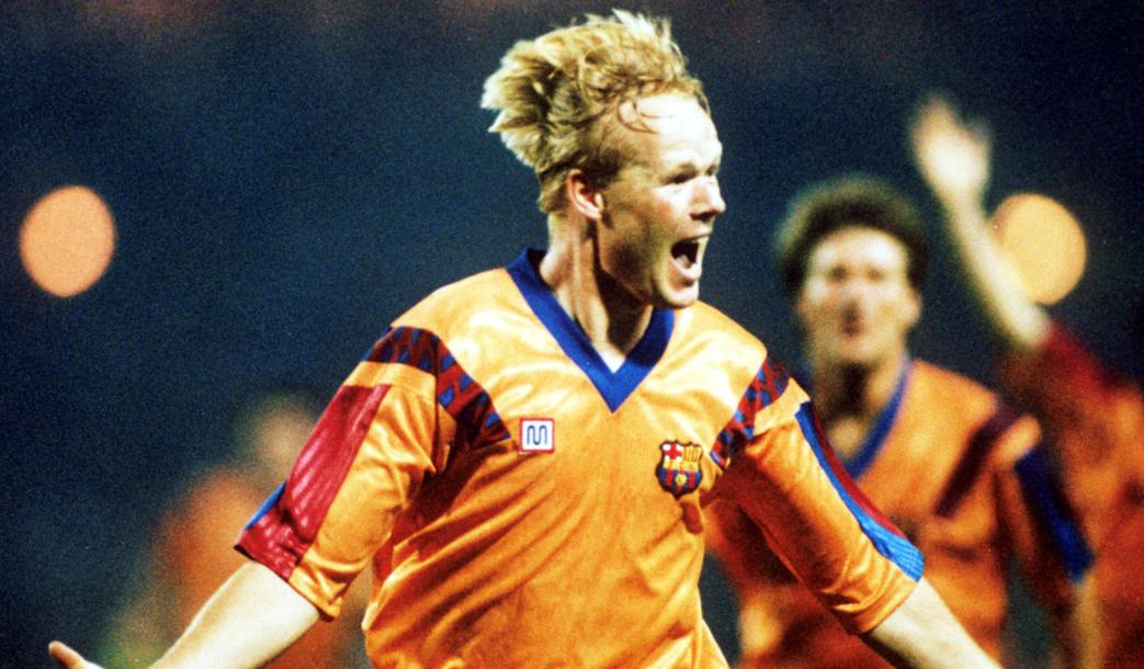 Koeman celebrando el gol decisivo en la final de la Copa de Europa 91/92 contra la Sampdoria. Candidato al Balón de Oro Dream Team central.