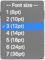 Font size menu