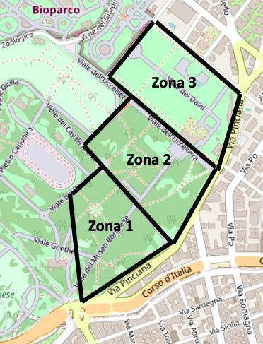 Villa borghese: mappa delle zone