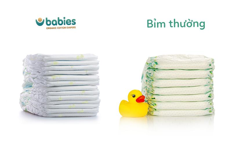 Babies Organic thuộc số ít những dòng bỉm có kết cấu mỏng.
