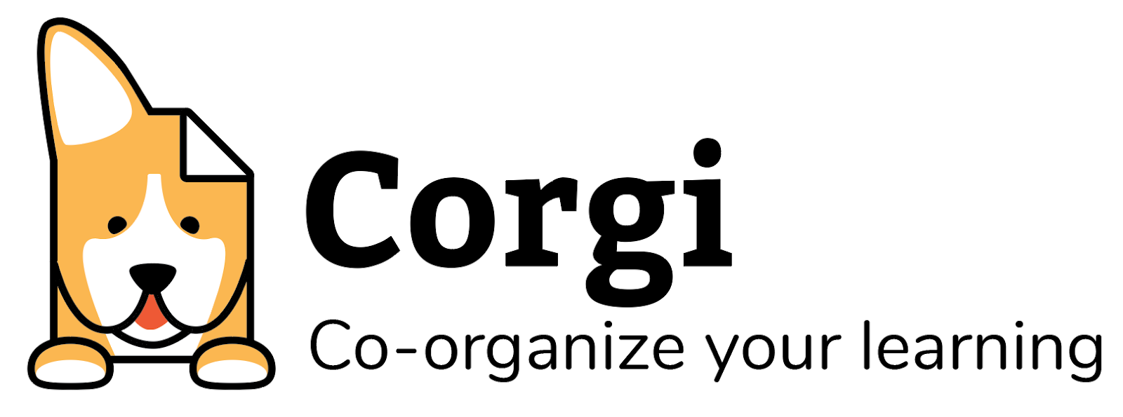 """Logo Option 2: Corgi dog face combined with a 'dog eared' document icon. """"Corgi"""" name and the tagline """"co-organize your learning"""""""