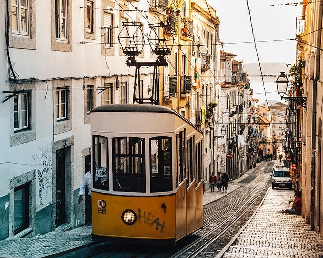 The famous yellow tram in Lisbon