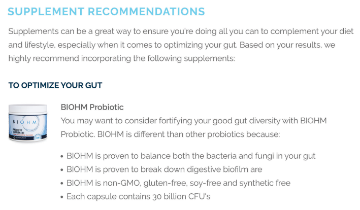 Recommendations often include direction to Biohm supplement products.