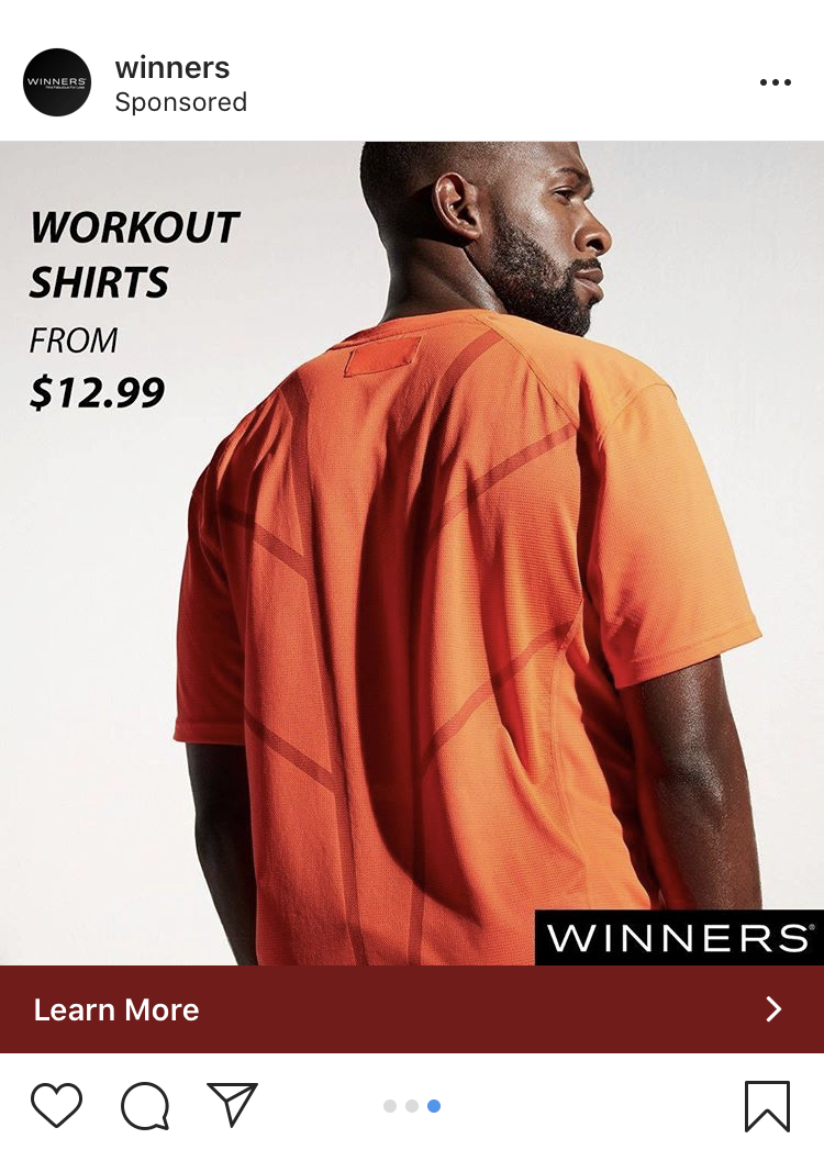 Instagram Carousel ad from Winners showing multiple products like t-shirt, shorts, and running shoes
