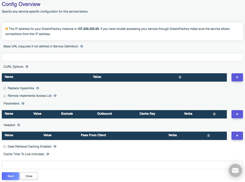 configuration of a third party API