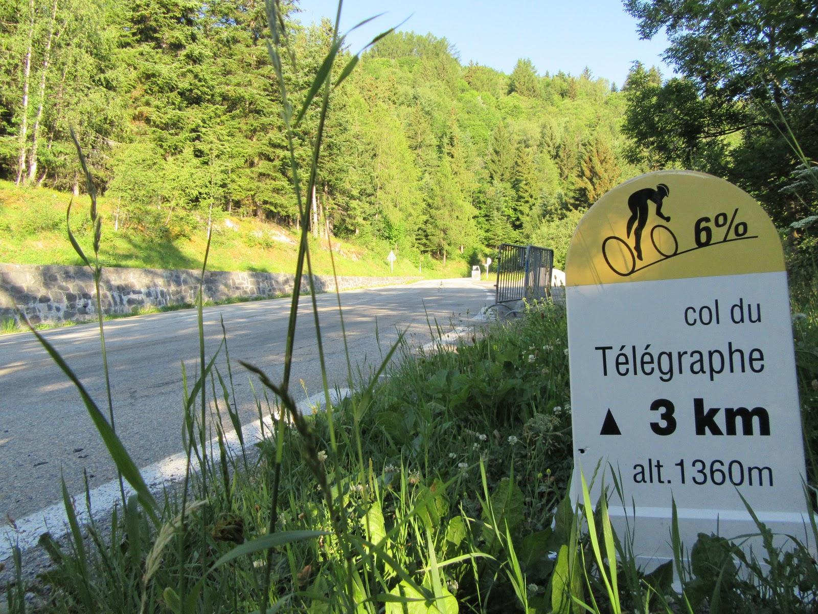 Climbing Col du Telegraphe and Col du Galibier by bike - km marker for Col du Telegraphe