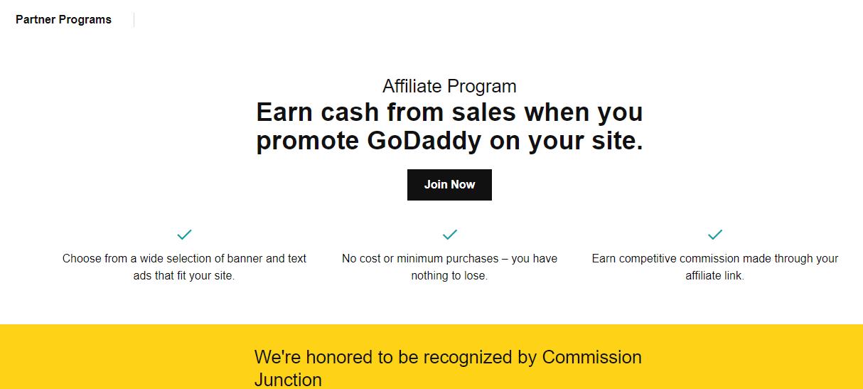 GoDaddy Affiliate page