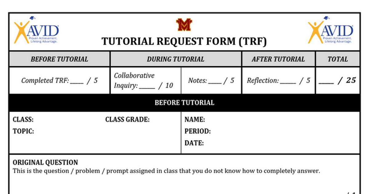 MV Tutorial Request Form TRF Google Docs – Tutorial Request Form