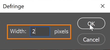 Set the appropriate Width value of the pixels and press OK