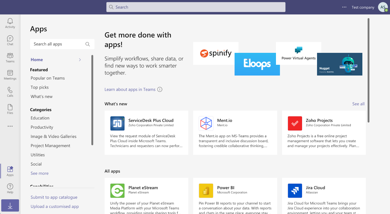 Apps section on Microsoft Teams
