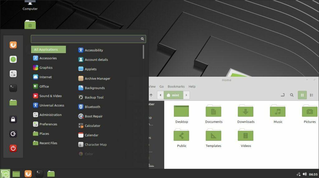 Linux Mint (Cinnamon desktop environment)