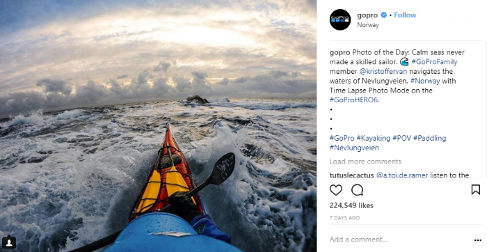 Every GoPro customer has the potential to become a content creator. GoPro only shares customers' photos on its social platforms.