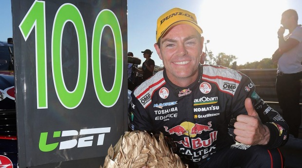 At last: Craig Lowndes of Red Bull Racing finally won his 100th career race.