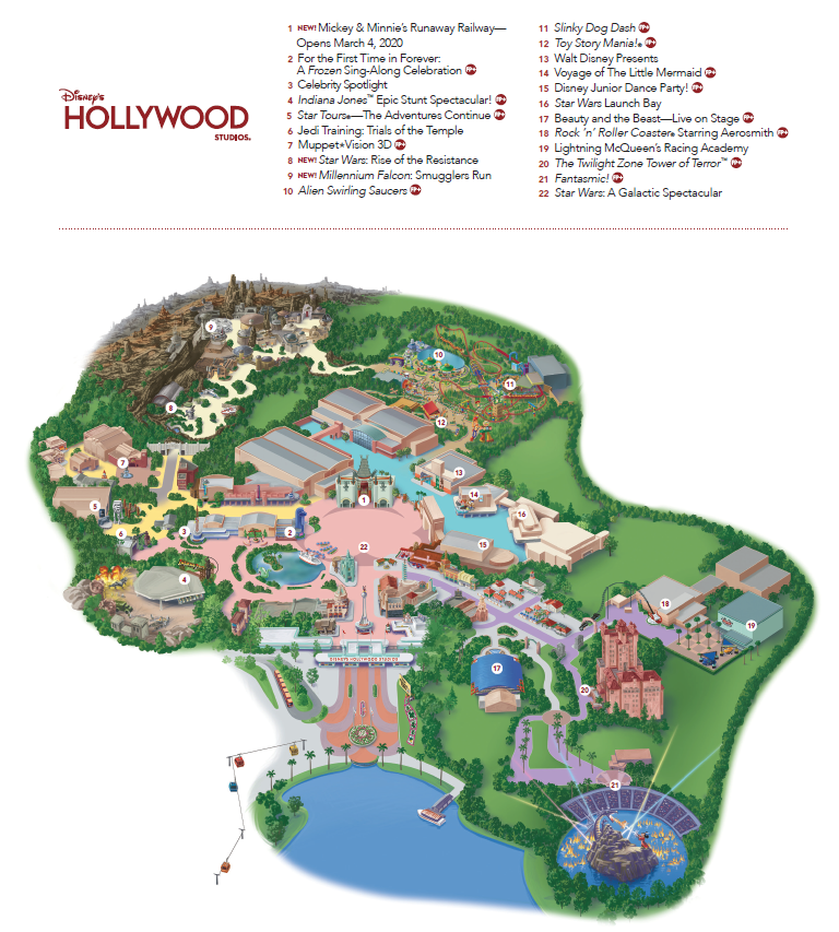 Disney's Hollywood Studios Theme Park Map by Heyday Travel Company - a free disney vacation planning service