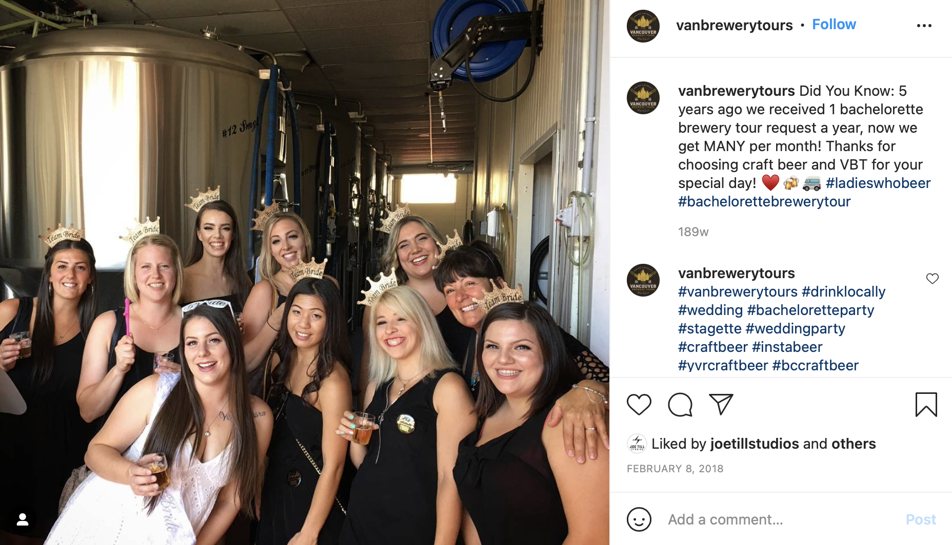 distillery tour with bridal party