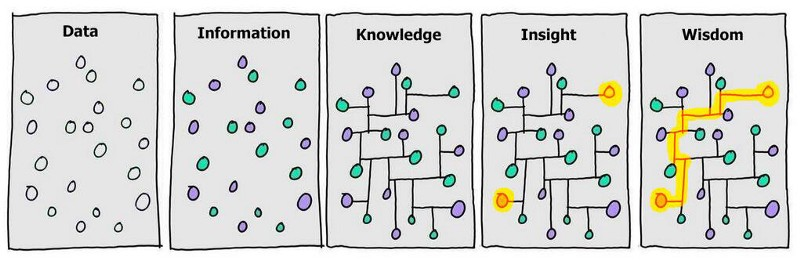 chart showing transformation of data into wisdom.