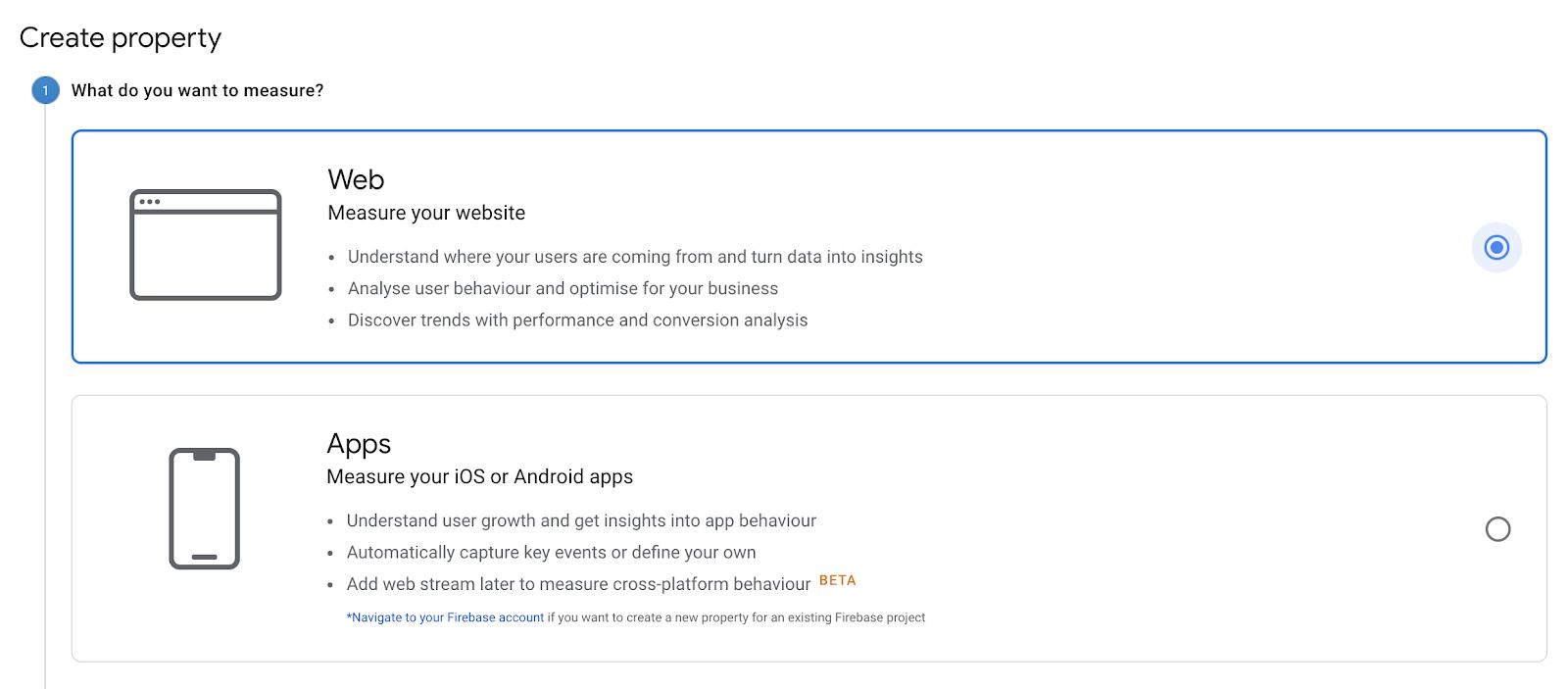 Create property google analytics