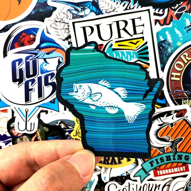 50 PCS Fishing Fish Quote Animal Sea Graffiti Stickers Lot Kid Vinyl Skateboard