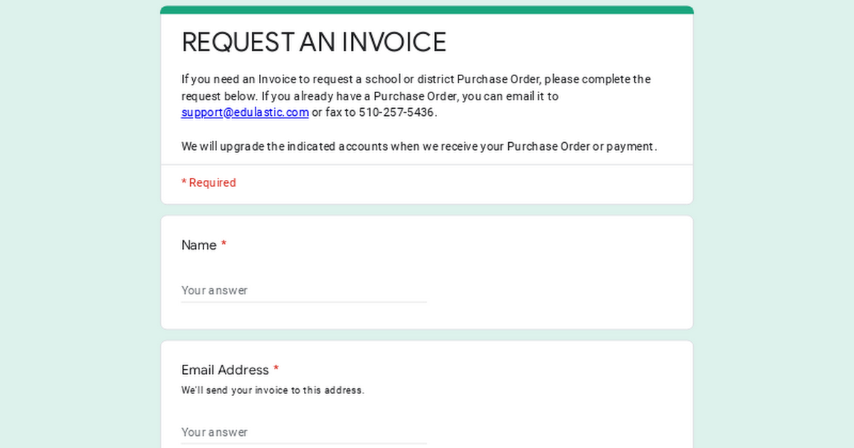 REQUEST AN INVOICE