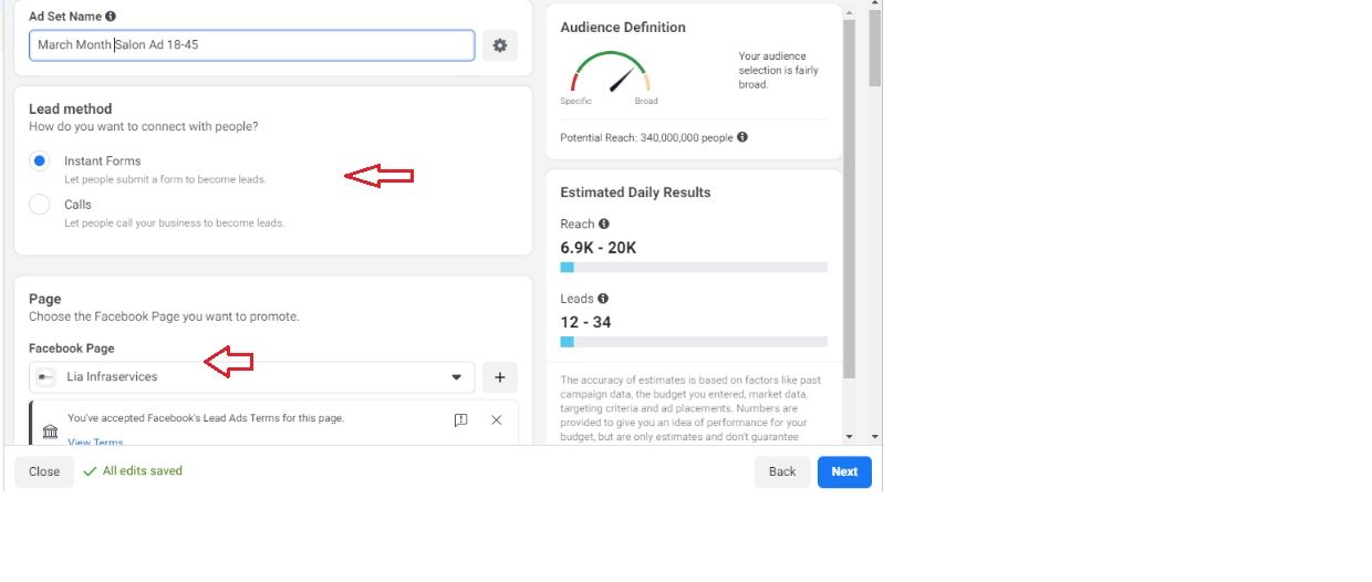 How to Set up Facebook Ad campaign for Salon Business - Select instant Forms - Lia infraservices