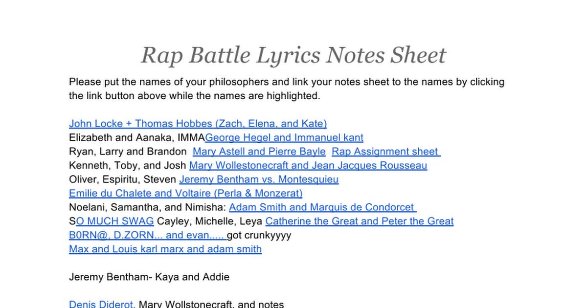 Rap Battle Lyrics Notes Sheet - Google Docs