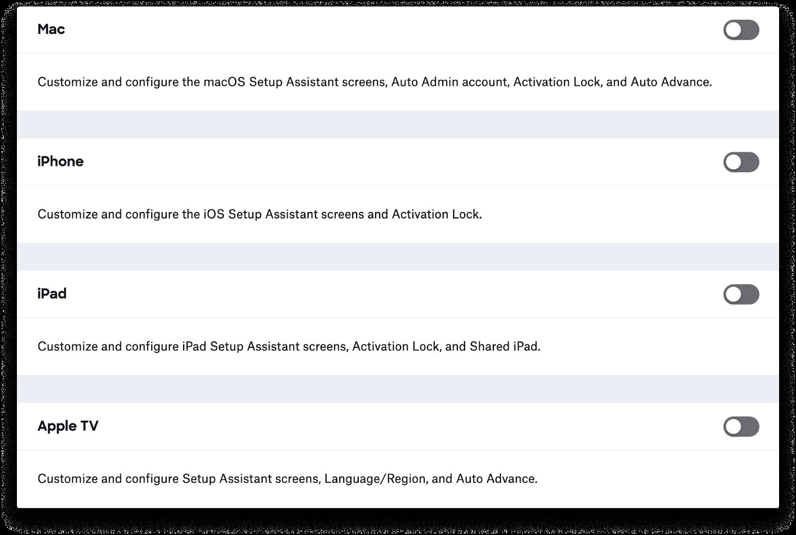 Kandji's new ADE interface.