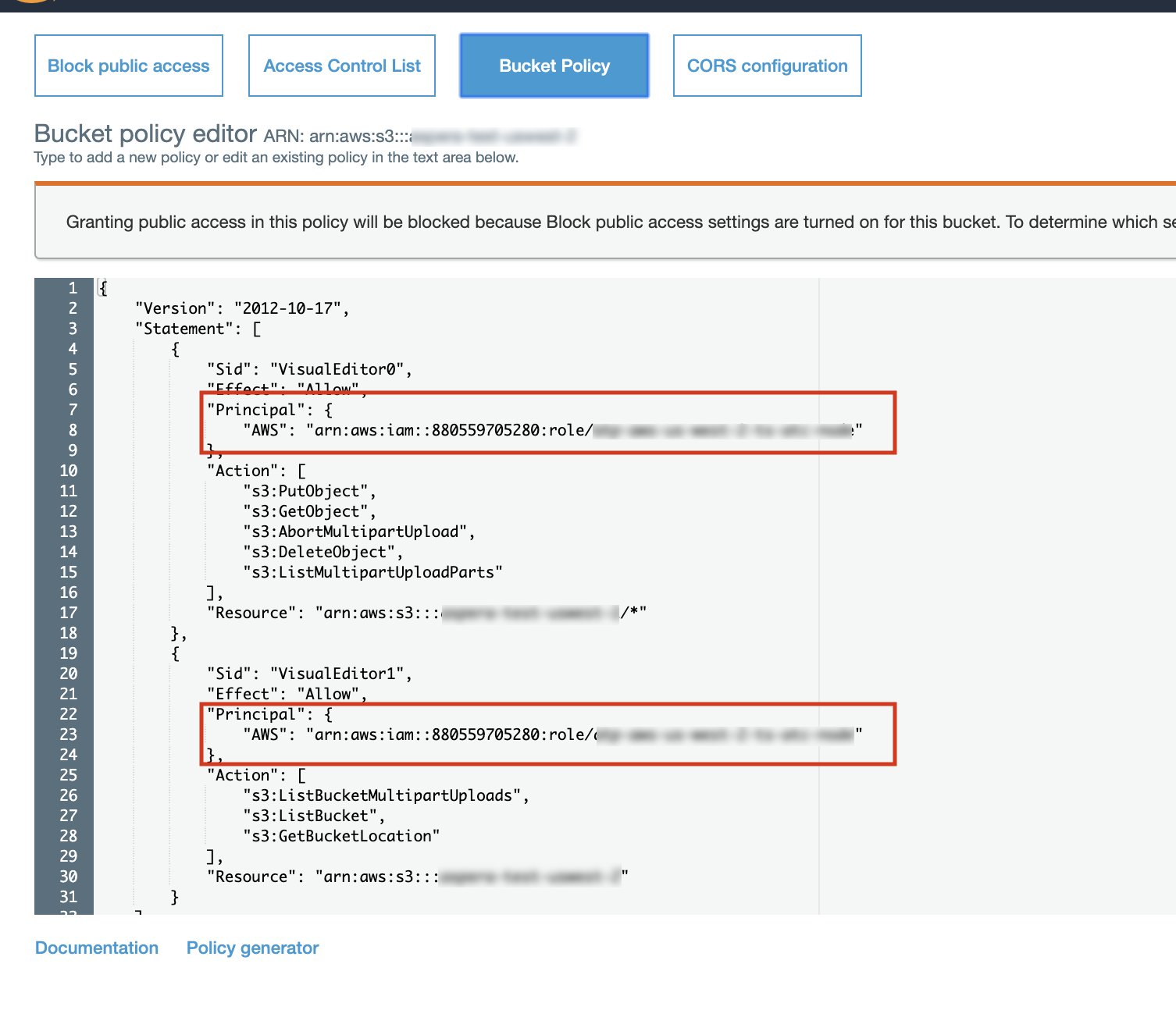 Screenshot of the AWS console showing a bucket policy with two Principal stanzas highlighted.