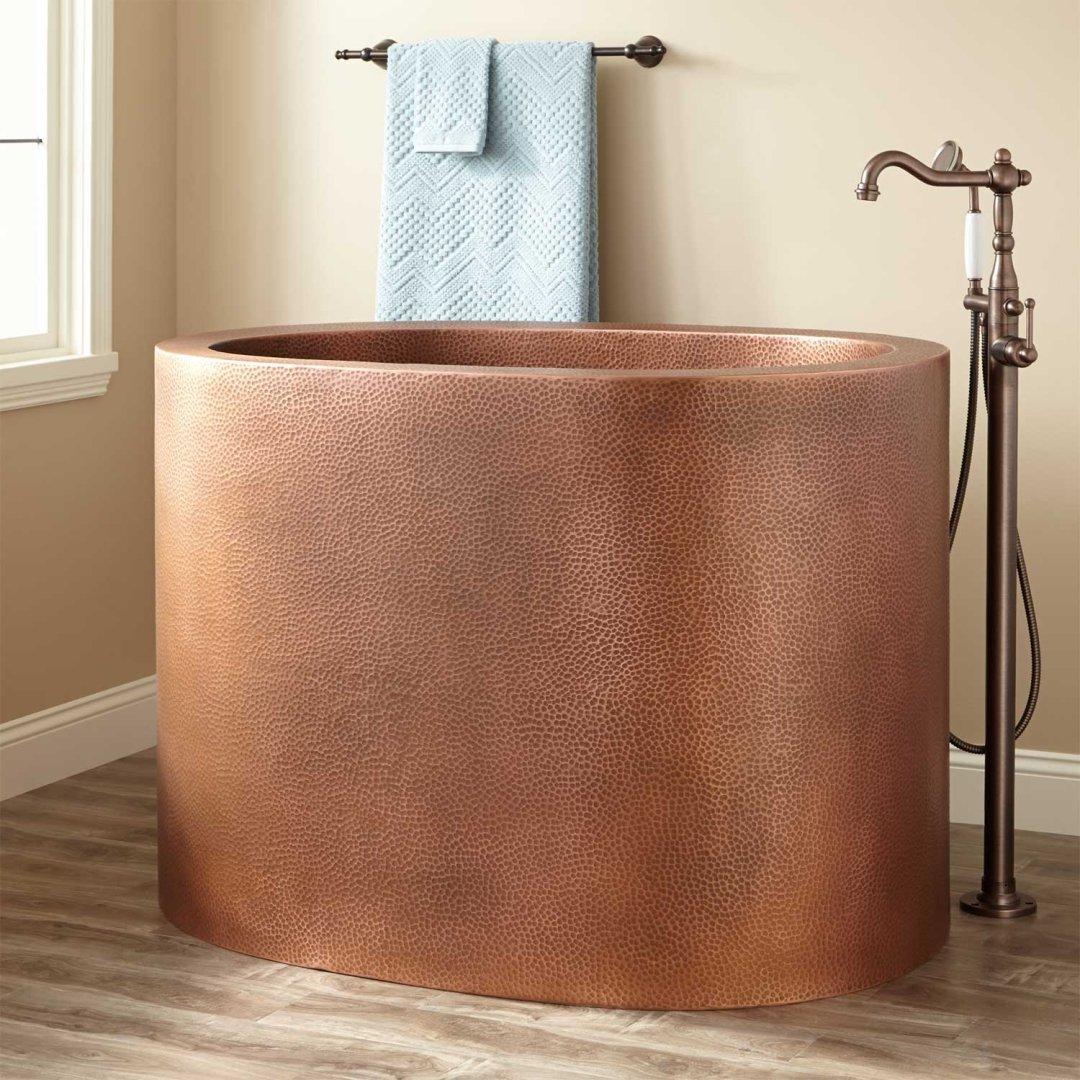 hammered copper japanese soaking tub