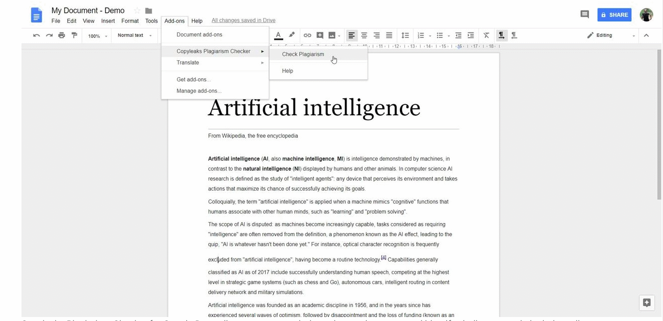 AI tool can check Plagiarism by matching the contents of academic papers against billions of web pages